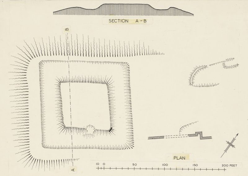 Publication drawing; motte, Sir John de Graham's Castle.