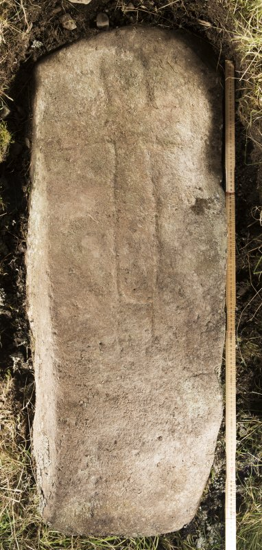 View of recumbent cross slab. Peripheral lighting. (with scale)