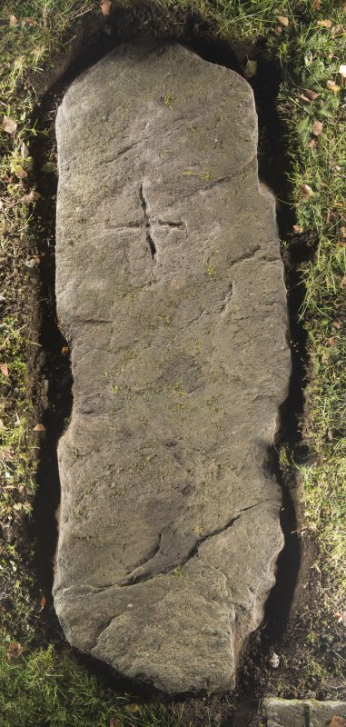 View of recumbent cross slab, Kilmaveonaig church