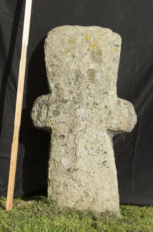 View of cruciform stone. (with scale).