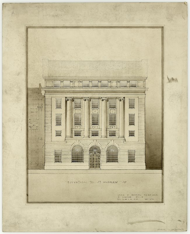 Edinburgh, 42 St Andrew Square, Royal Bank of Scotland. Presentation drawing showing elevation to St Andrew Square. Insc: 'Leslie G. Thomson A.R.I.B.A. F.R.I.A.S 6 Ainslie Place Edinburgh.'