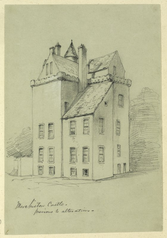 Drawing of Merchiston Castle.