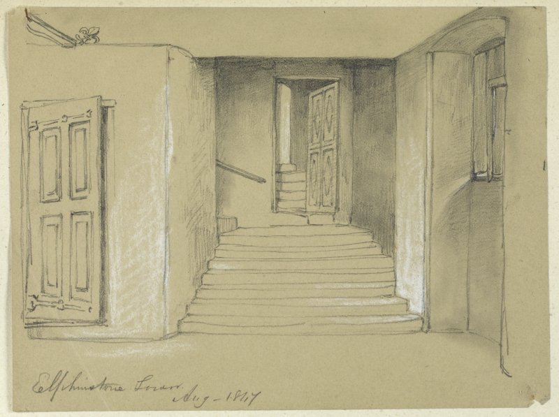 Drawing of stairs, Elphinstone Tower