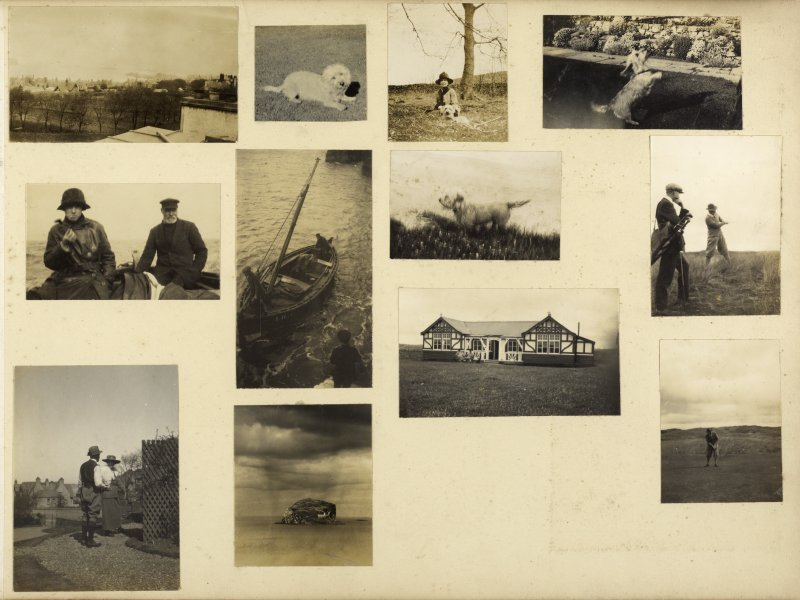 Twelve photographs showing a fishing boat, dogs, an unidentified golf course and clubhouse, and the Bass Rock.