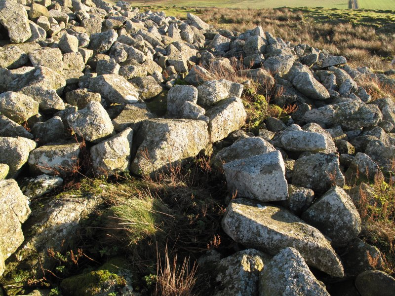 Drumcarrow Craig broch; outer wall-face at WSW.