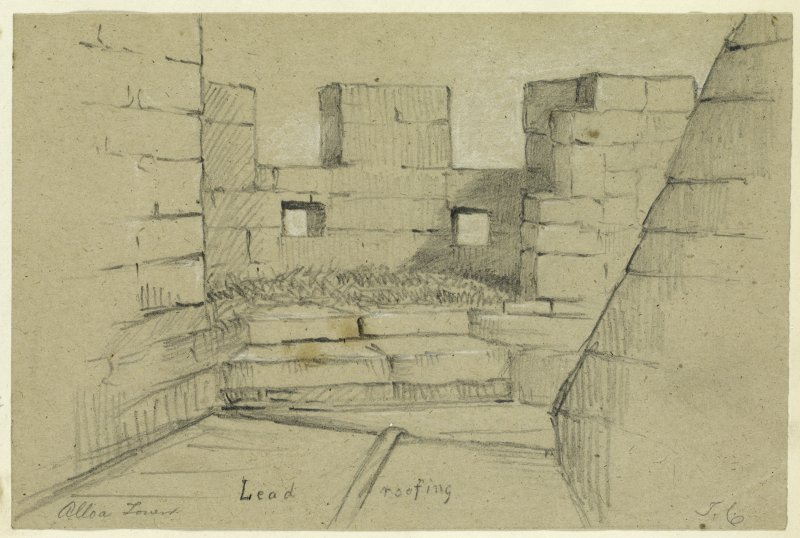 Drawing of lead roofing at Alloa Tower.