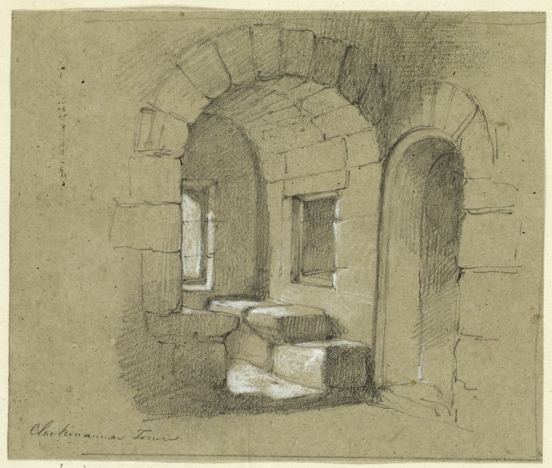 Drawing of interior of Clackmannan Tower.