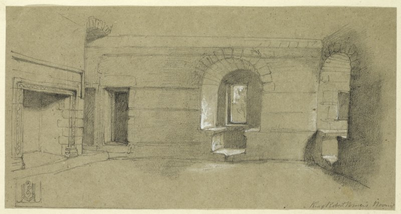 Drawing of interior of Clackmannan Tower, King Robert the Bruce's room.