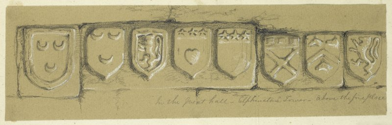 Drawing of carved armorials in the Great Hall at Elphinstone Tower.