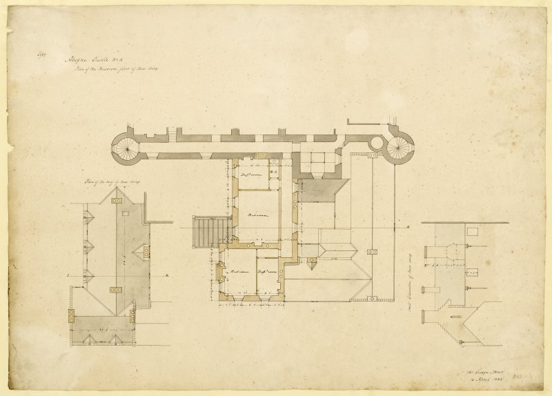 Plan of bedroom floor of new wing, Aboyne Castle.