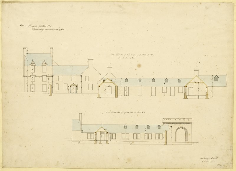North elevation of new wing and stable court and East elevation of offices, Aboyne Castle.