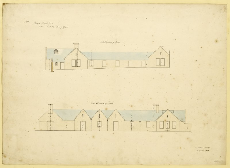 South and West elevations of offices, Aboyne Castle