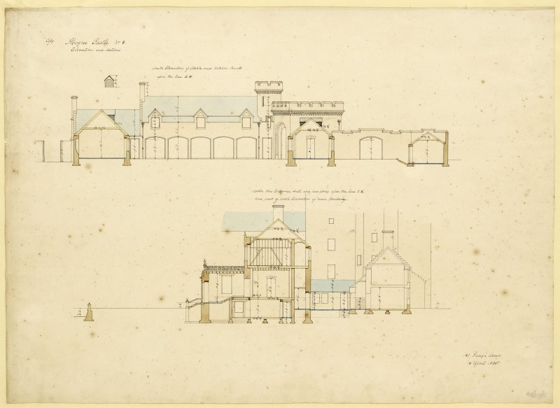 South elevation of stable and kitchen court, section of entrance hall and new wing and North elevation of main building, Aboyne Castle.