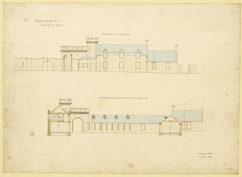 North and West elevations of stable offices and court, Aboyne Castle.