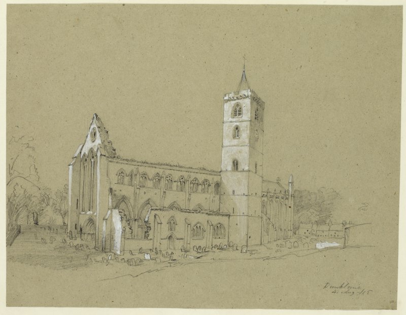 Drawing of Dunblane Cathedral from the SW.