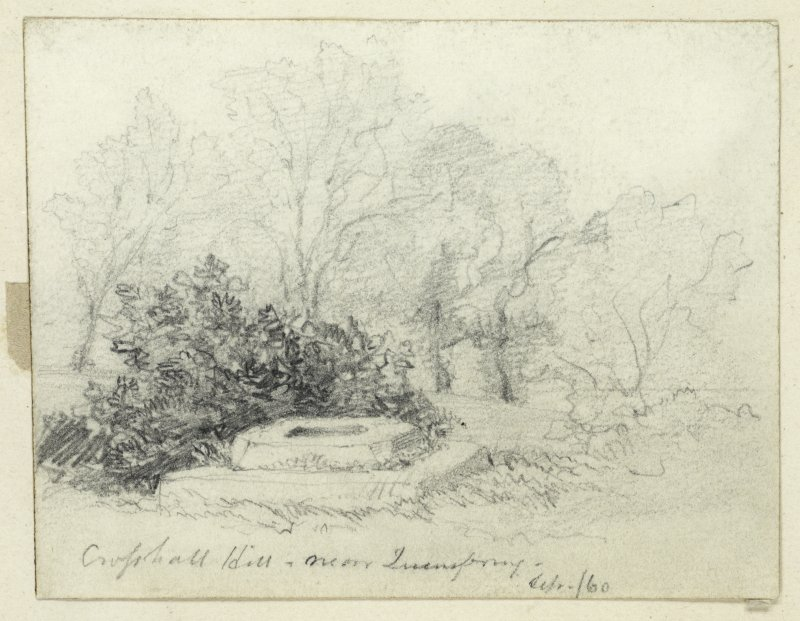 Drawing of cross base at Crossall Hill.