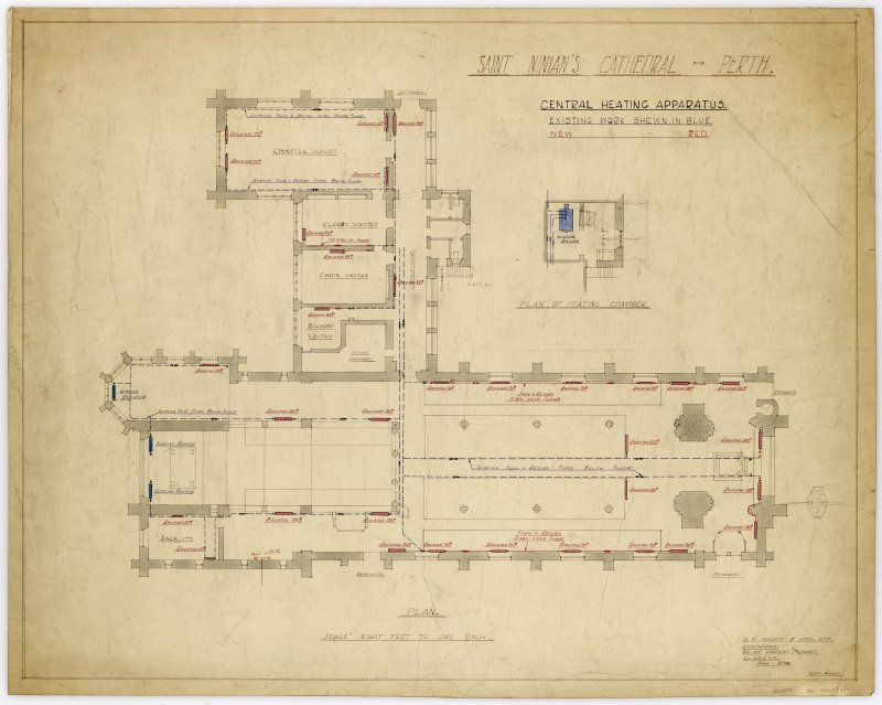 Plan of cathedral showing details of existing and new heating apparatus.