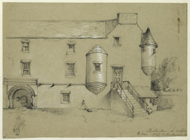 Drawing of Mentsrie Castle.