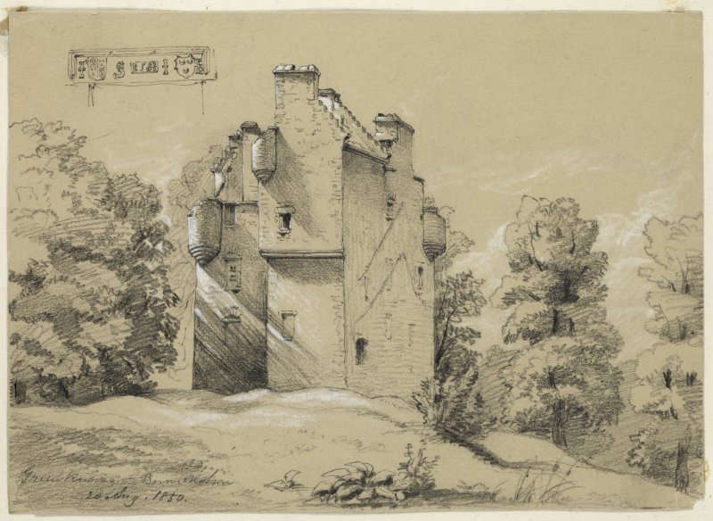 Drawing of Greenknowe Tower from East.