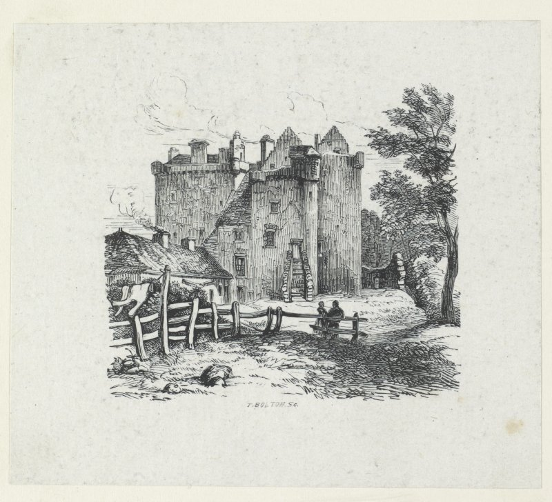 Print of drawing of Ruthven Castle from North.