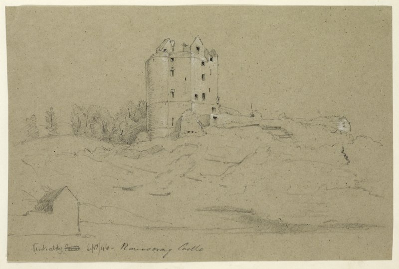 Drawing of Ravenscraig Castle from West.
