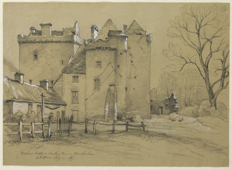 Drawing of Ruthven Castle from North.