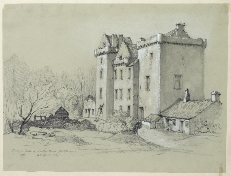 Drawing of Ruthven Castle from the South.