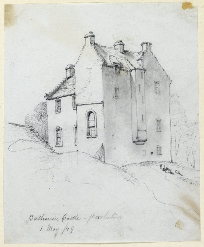 "Drawing of Balhousie Castle.  Insc: ""Balhousie Castle Perthshire 1 May 49"""