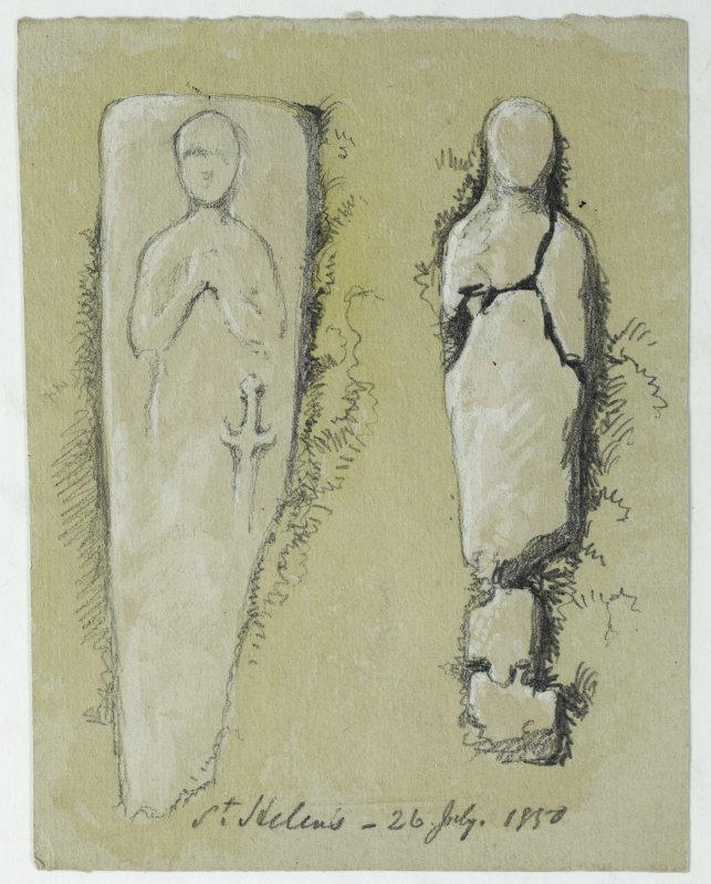 Drawing of grave slab at St. Helen's Chapel.