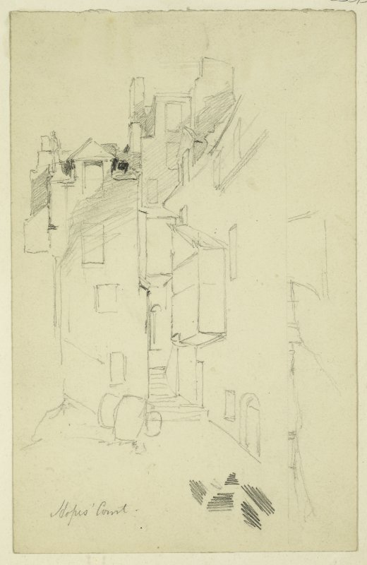 Drawing of Hopes Court, Edinburgh, with sketch view of Smailhome Castle on verso.