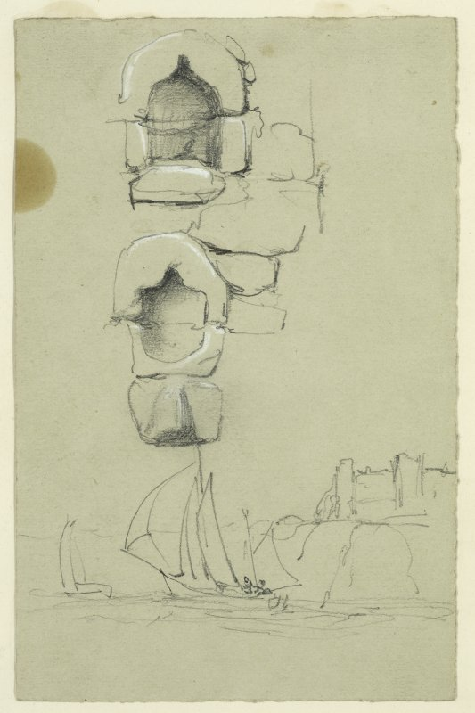 Drawing of Dunbar Castle with two boats in the foreground. Also includes drawings of two stone recesses.