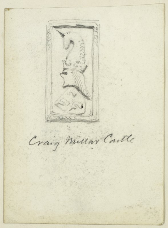Sketch of heraldic panel from Craigmillar Castle