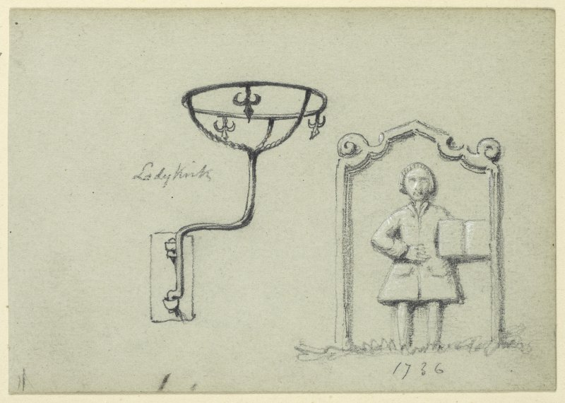 Drawing of gravestone and iron wall fitting at Ladykirk