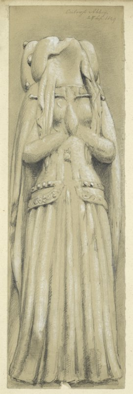 Drawing of a sculpted grave slab (recumbent female figure) at Culross Abbey.