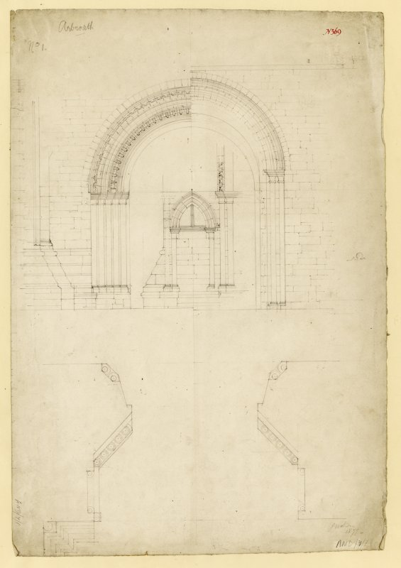 Plan and elevation of W doorway, and elevation of niche, Arbroath Abbey.