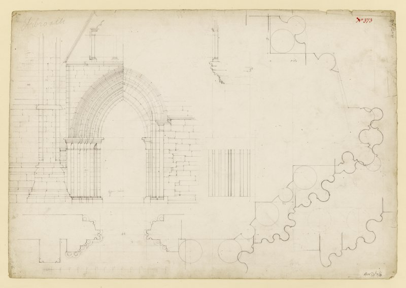 Elevation and details of doorway to S aisle, Arbroath Abbey.