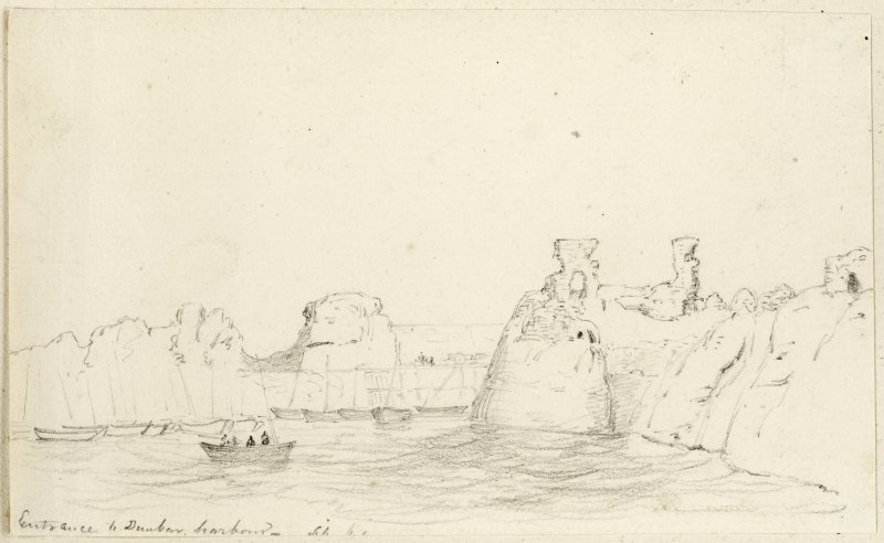 Sketch of the Dunbar harbour entrance and the castle.