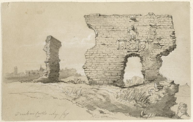 Sketch of the entrance of Dunbar Castle.