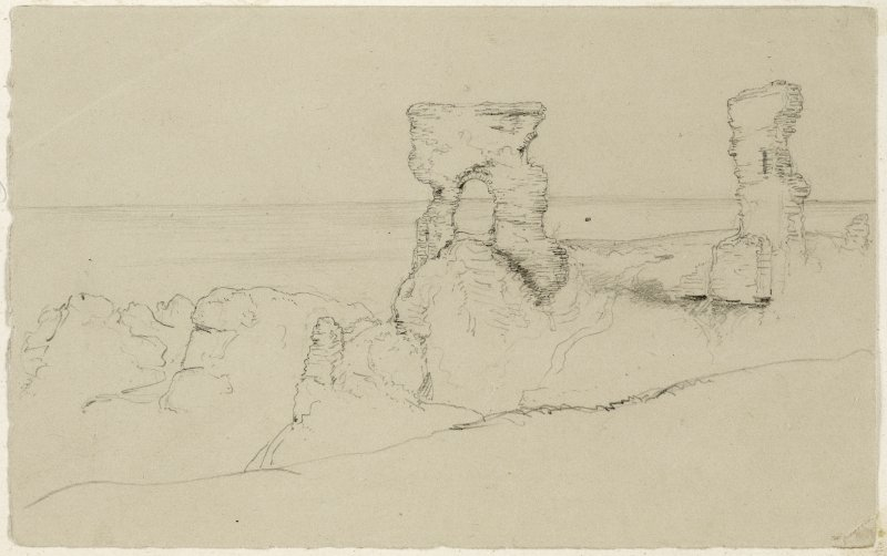 Sketched view of Dunbar Castle.