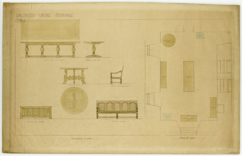 Elevations and plan for furniture in Hall of Balmanno Castle, Perthshire