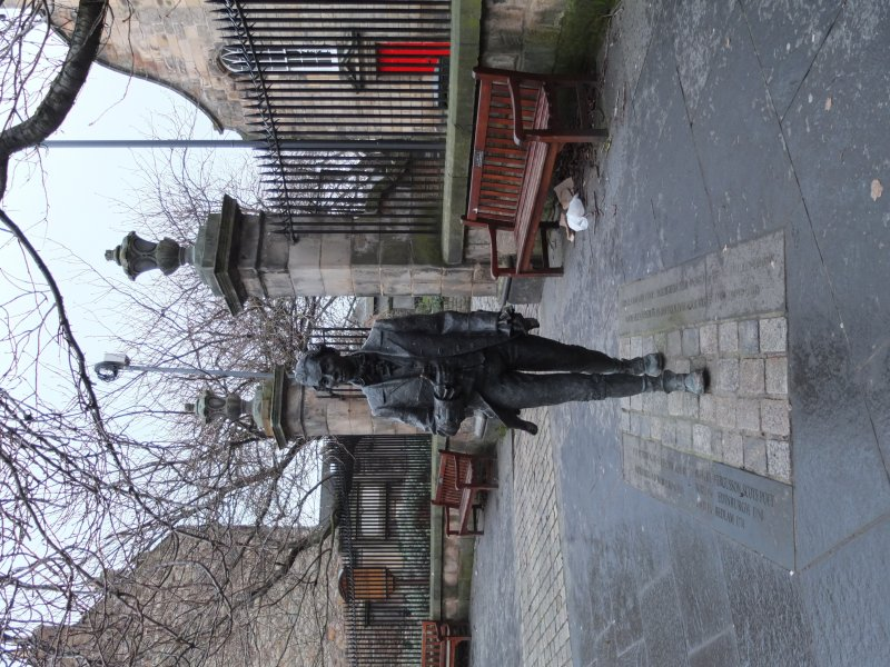 View from east of 2004 statue to poet Robert Fergusson