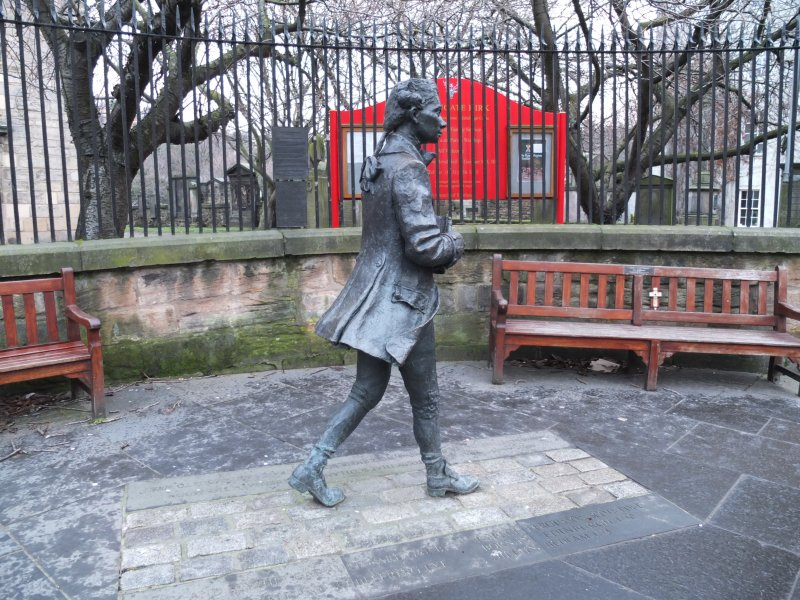 View from south of 2004 statue to poet Robert Fergusson
