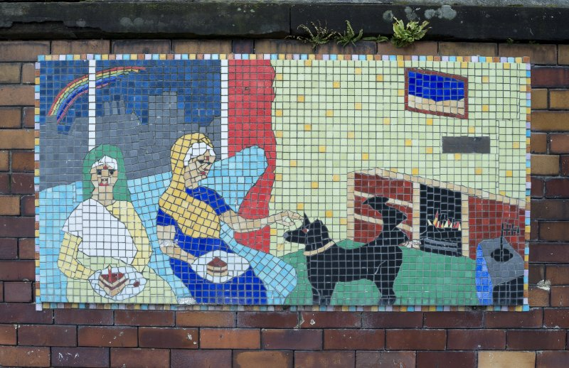 Detail of mosaic mural by school children. Seniority by primary 6/7 Former Willowbank School, Glasgow.