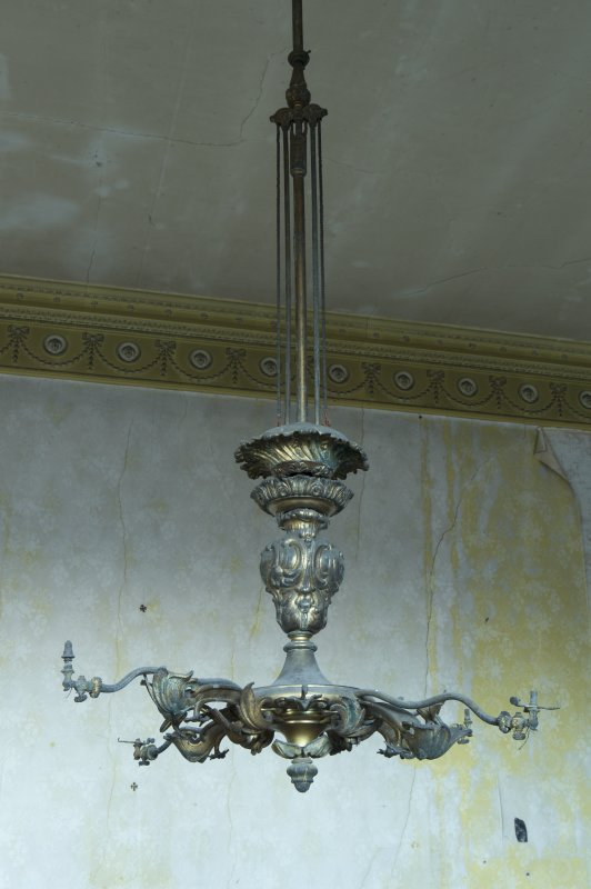 1st floor, drawing room, detail of ceiling mounted gas light