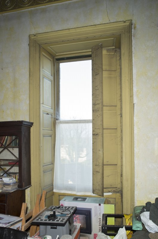 1st floor, drawing room, detail of window with shutters