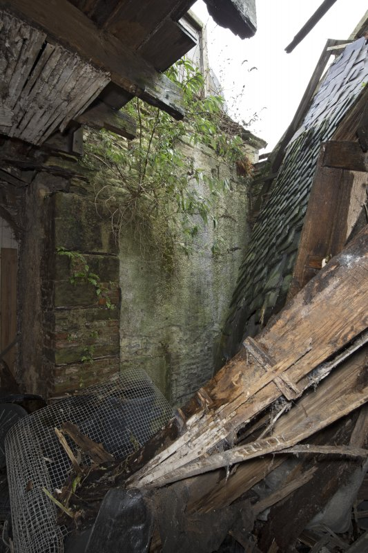1st floor, room above main entrance, view from east showing collapsed roof