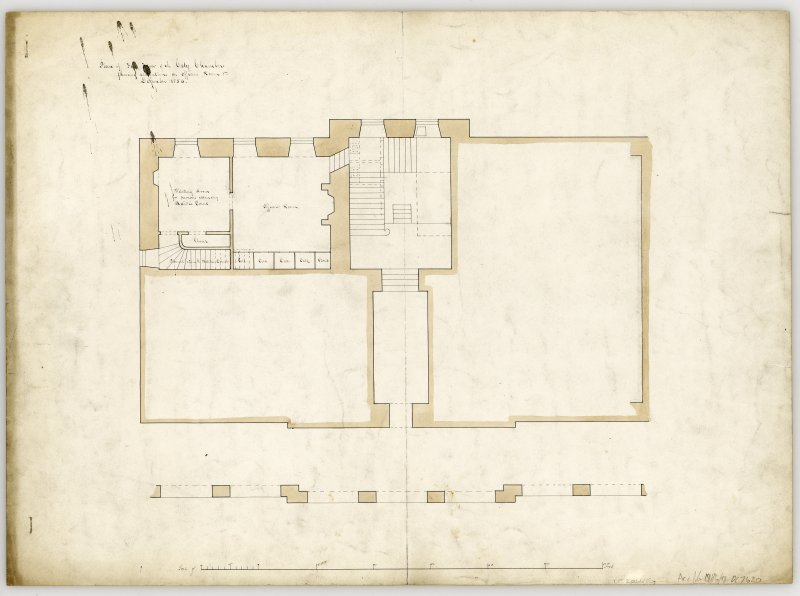 Sheet 1 - plan of first floor (ground) Showing alterations on Officers Room.  Unsigned.