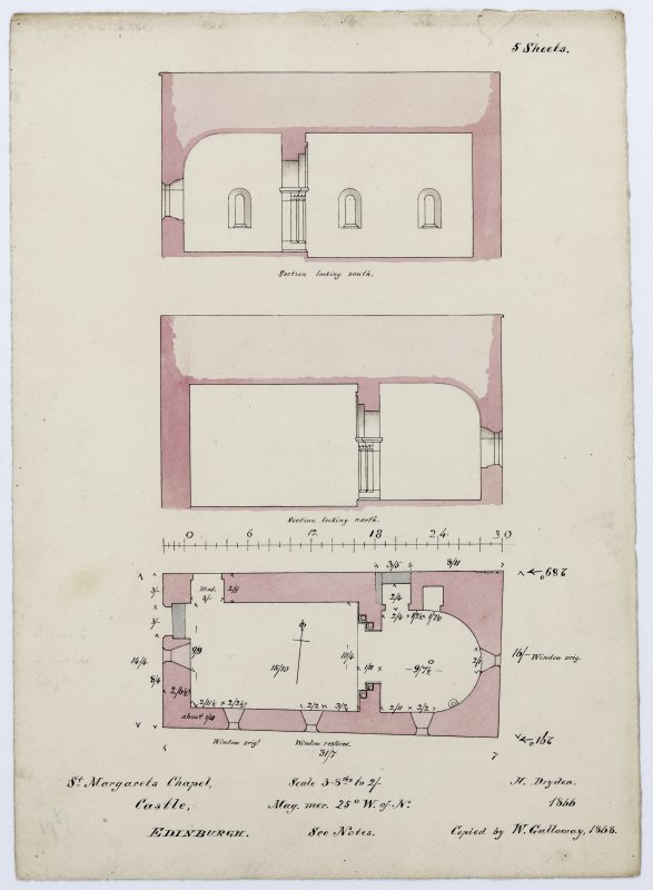 Ground plan and sections of St Margaret's Chapel, Edinburgh Castle, looking north and south.