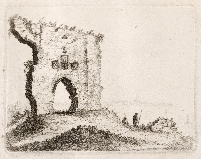 Engraving of remaining wall of Dunbar Castle with 4 heraldic stones above arched doorway.