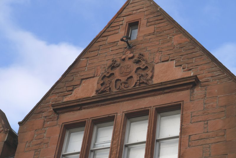 Detail of carved cartouche in gable of former Craigwell Brewery, 65 Calton Road, Edinburgh.